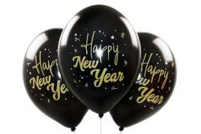 ballons happy new year schwarz 1