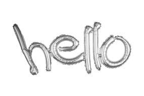 ballons schriftzug hello silber 1