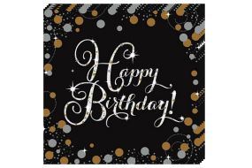 happy birthday elegant servietten