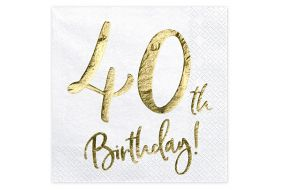 happy birthday elegant servietten 40 gold 1