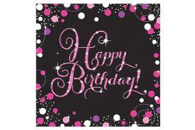 happy birthday pink servietten