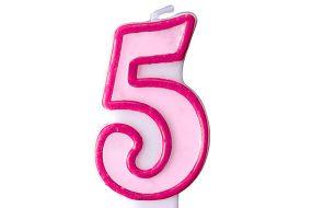 zahlenkerze 5 rosa 1