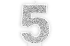 zahlenkerze 5 silber 1