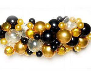 DIY Ballon-Girlande gold & schwarz