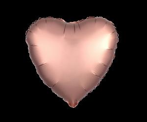 geschenkballon herz satin rosegold 1