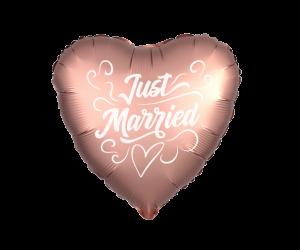 geschenkballon just married rosegold herz 1