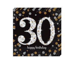 happy birthday elegant servietten 30