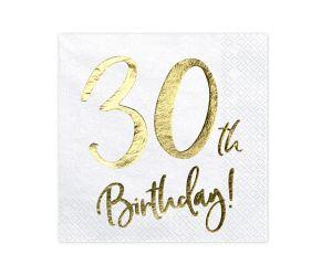 happy birthday elegant servietten 30 gold 1