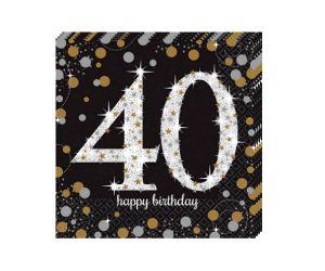 happy birthday elegant servietten 40