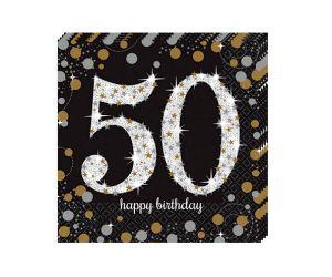 happy birthday elegant servietten 50