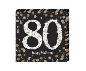happy birthday elegant servietten 80