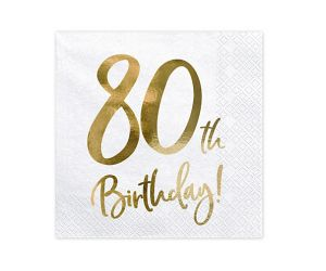 happy birthday elegant servietten 80 gold 1