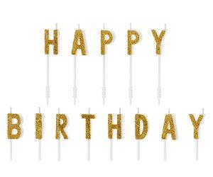happy birthday kerzen gold 1