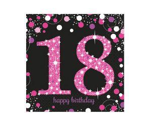 happy birthday pink servietten 18
