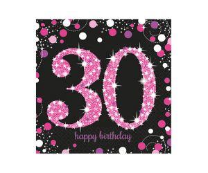 happy birthday pink servietten 30