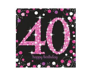 happy birthday pink servietten 40