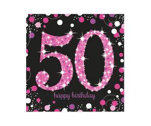 happy birthday pink servietten 50
