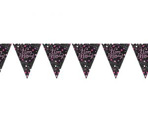 happy birthday pink wimpelkette