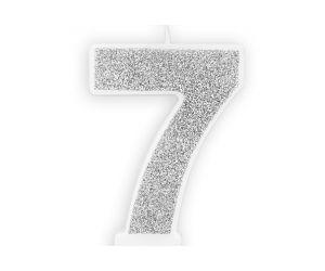 zahlenkerze 7 silber 1