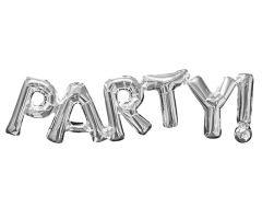ballons schriftzug party silber 1