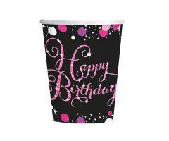 happy birthday pink becher